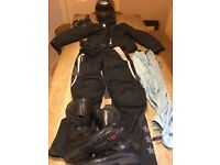 Ladies Motorbike clothing - size 10 inc helmet(59-60) ,jacket,trousers, boots(size7) gloves, wets
