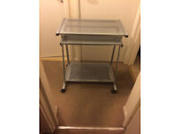Silver Metallic Computer/ Laptop Table/ Desk with Slide-out Keyboard Tray