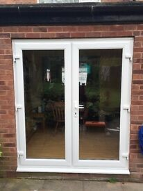 WHITE UPVC FRENCH/PATIO DOORS MADE TO MEASURE 1200 X 2100 WITH GLASS £299 FREE DELIVERY