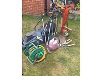 16 Garden tools- includes lawnmowers,hose.