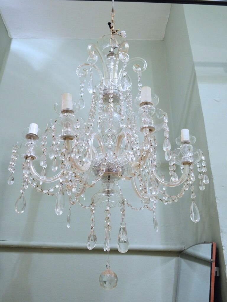 ANTIQUE LARGE ANTIQUE MARIE THERESE CRYSTAL CHANDELIER   in ...