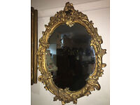 Striking Antique French Style Rococo Ornate Oval Wall Mirror Quality Gilt Frame