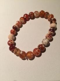 Marble style women's bracelet brown/white colour
