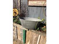vintage galvanised tin bath planter pot garden wedding prop