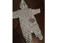 Up to 3 month striped snowsuit