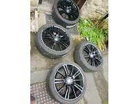 "Bmw mv3 18"" 8j 5 x 120 alloys wheels. twin spoke bargain 1 needs repair"