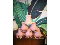 6 x Dusty Pink Tassel Fringe Vintage Style Clip on French Style lampshades for chandeliers lamps
