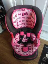 Girls pink car seat