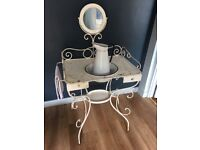 Antique French enamel washstand with jug and bowl