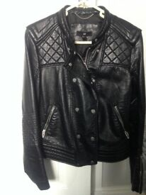 Black size 10 H&M leather look jacket