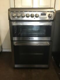 Hotpoint dual fuel gas cooker 60cm stainless steel double oven 3 months warranty free local delivery