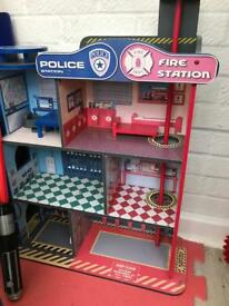 Wooden police and fire station set
