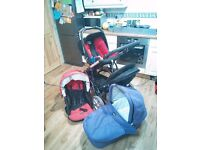 britax Double pram with carrycot and car seat