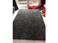 Large Black & Grey Shaggy Rug