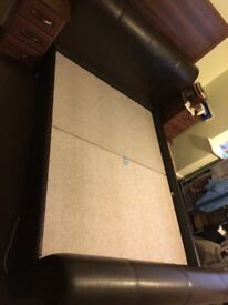 King sized brown leather bed with mattress. Good condition