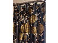 Laura Ashley Charcoal silk curtains
