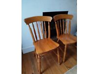 Pair of pine kitchen farmhouse dining chairs FREE DELIVERY