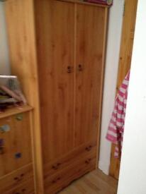 WOODEN WARDROBE WITH DRAWERS. GOOD CONDITION. SMOKE FREE HOME