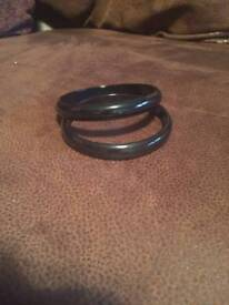 Set of 2 black bangles