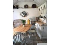 Vintage Pine Farmhouse Table Bench 2 Chairs and Carved Chair can seperaye