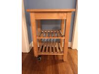 Solid wood butchers block/trolley