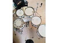 Tama superstar hyperdrive drum kit with hardware, ahead Cases, pedal and stool.
