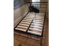 Small Double Black Metsl and Wood Bed Frame