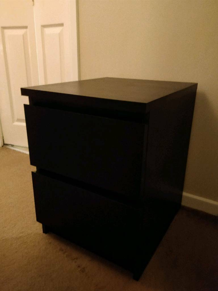 Malm Black Bedside Table Ikea