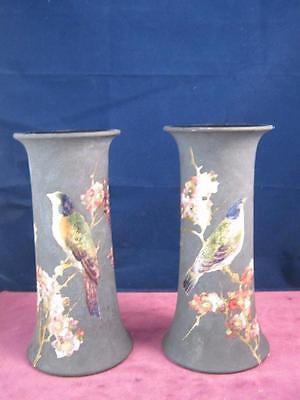 Matching Pair of Bretby Art Pottery  Trumpet Vases Birds , Floral on Matt Black