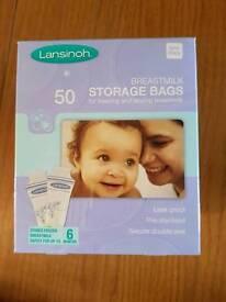Lansinoh breast milk storage bags 2 boxes of 50 - unopened