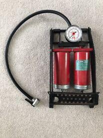 Halfords Twin Barrel Foot Pump with Gauge
