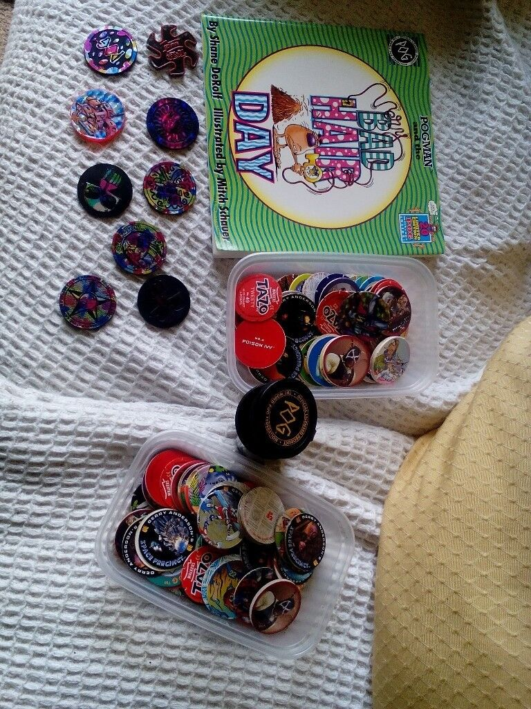 selection of tazo and pogs plus book and 9 slammers from 90s