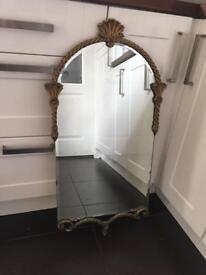Antique Peerart Mirror With Brass Frame