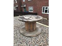 Wooden drum / garden table