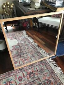 Oak effect square mirror