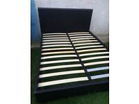 Double size black faux leather padded bed frame with foam mattress, 4.6ft W