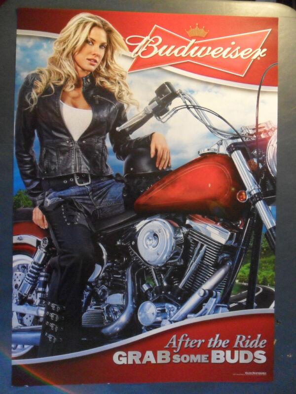 Sexy Girl Beer Poster Budweiser Blonde Motorcycle