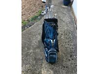 Ping JSK irons 3-9 + Sand Wedge, Regal 3&5 woods and a Cleveland Launcher 400 Driver. Bag included.