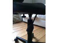Brown leather salon/desk chair on castors