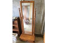Floor standing tilting wooden mirror