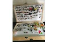 Trout salmon fishing flys flies in double tackle box