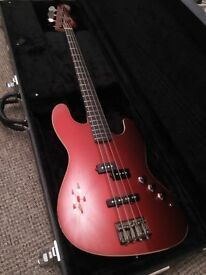 2014 Red Fender Aerodyne (MIJ) Jazz Bass with Yamaha hard case
