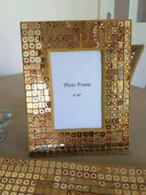 "BRAND NEW: Spanish patterned sparkle glass photo frame 4"" x 6""."