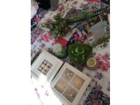 Green accessories bundle.. Pictures, candles, flowers