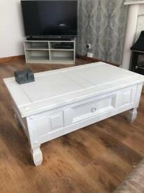 Solid wood coffee table white