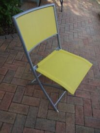 FREE Set of Four Metal Framed Yellow Covered Garden / Patio Chairs