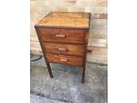 Tall Antique vintage 3 Draw wooden storage chest