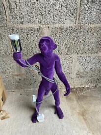 Purple velvet Monkey table lamp