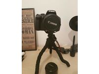 Canon 550D + 18-55mm + 50mm f1.8 + tripod