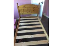 Child's single pine bed with removable bed rails